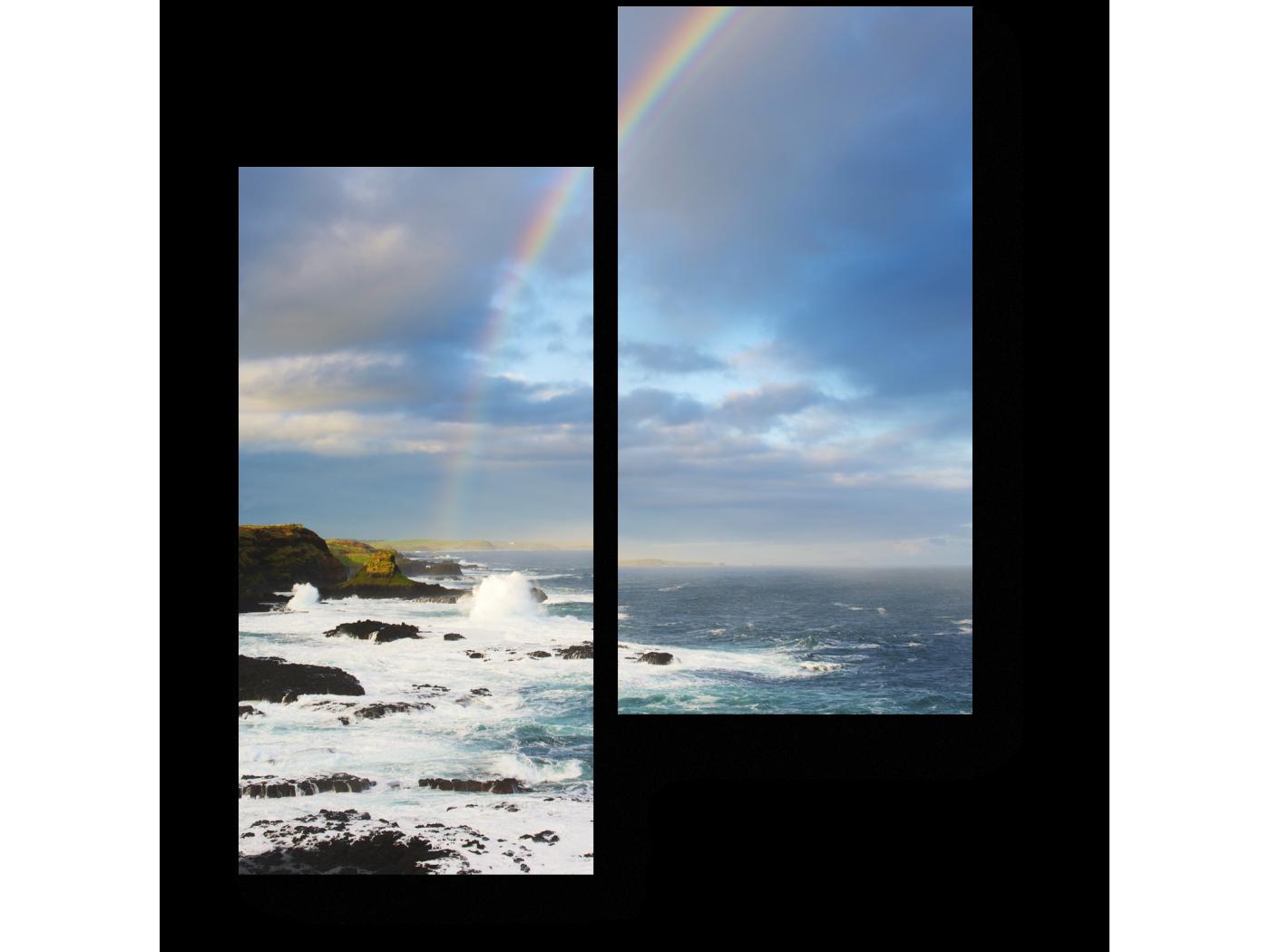 Модульная картина Морской пейзаж с радугой (40x50) фото