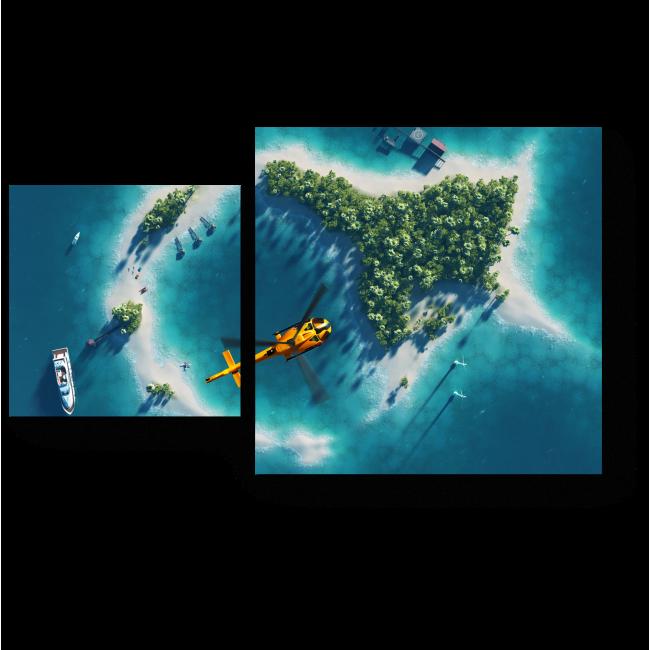 Модульная картина Тропический остров с высоты