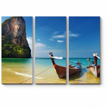 Модульная картина Лодки на пляже в Таиланде