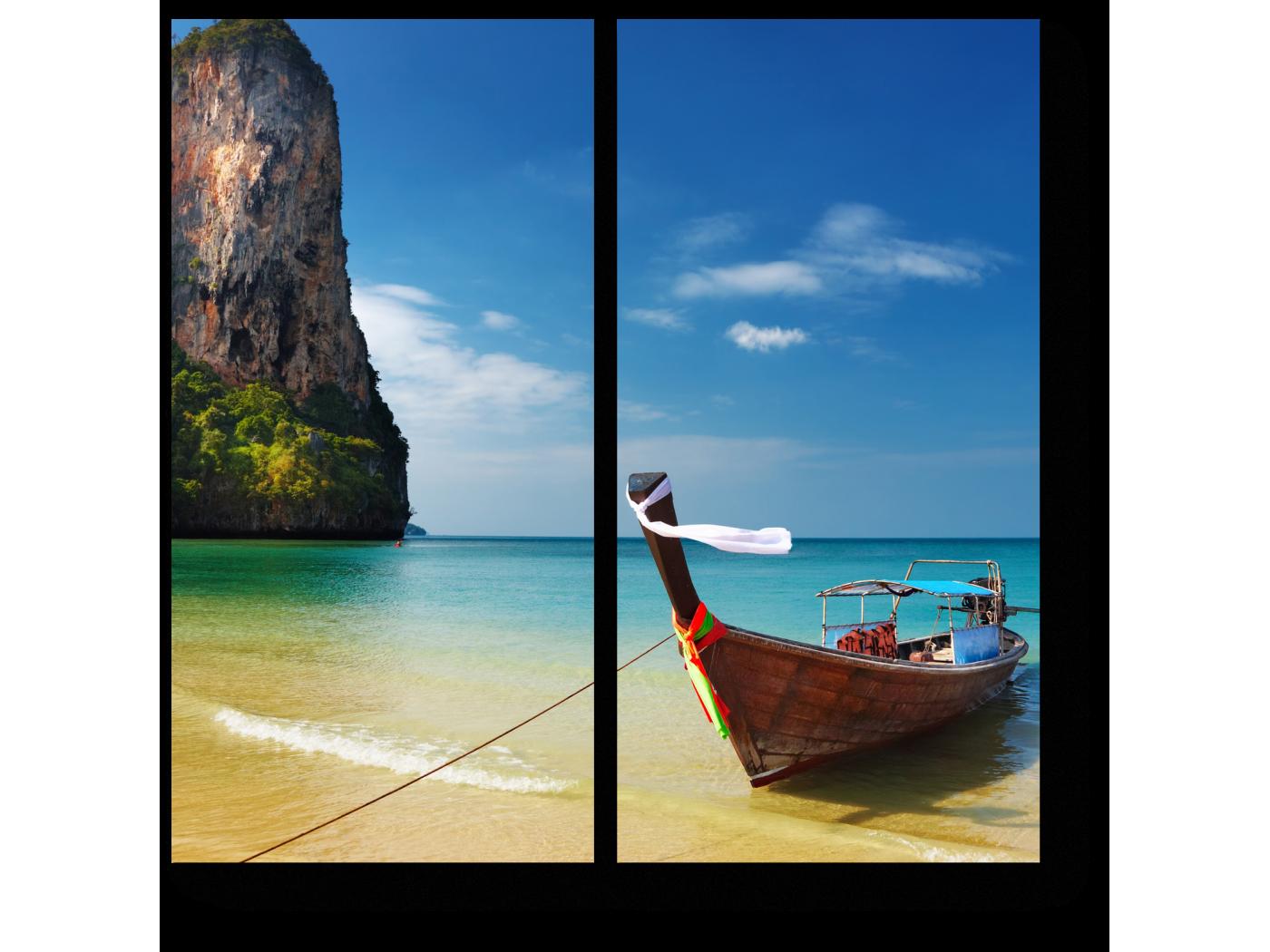 Модульная картина Лодки на пляже в Таиланде (40x40) фото