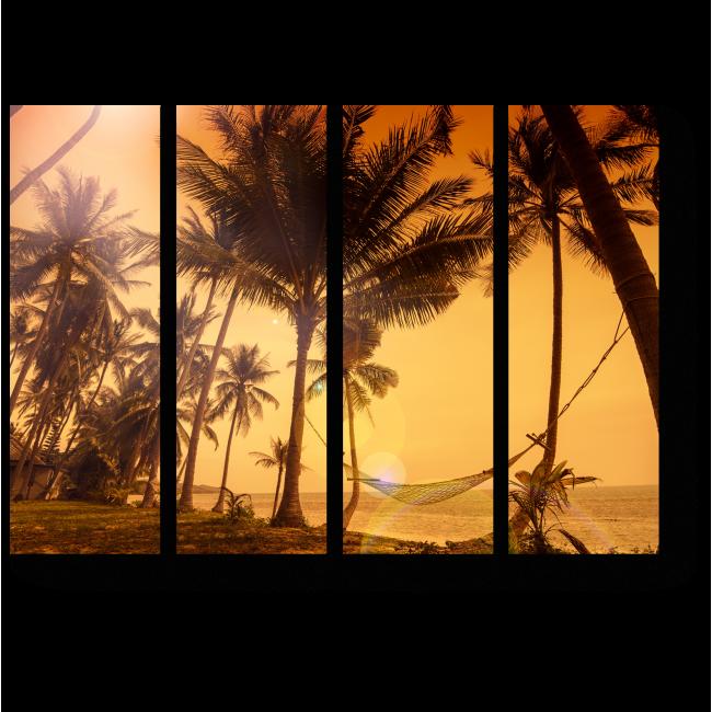 Модульная картина Яркий закат на берегу