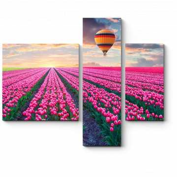 Модульная картина Пролетая над тюльпановым полем