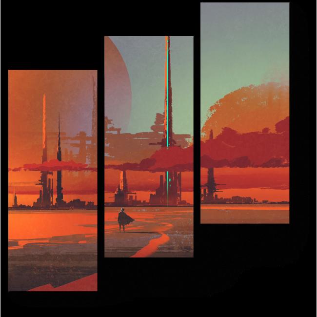 Модульная картина Пустынный город - наваждение