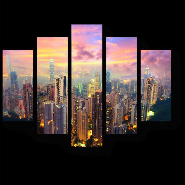 Модульная картина Головокружительный вид с Пика Виктория, Гонконг