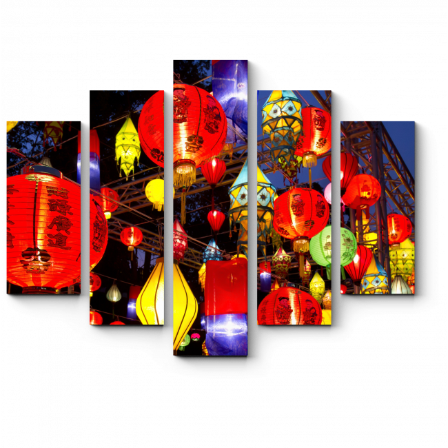 Модульная картина Волшебный свет китайских фонариков, Гонконг