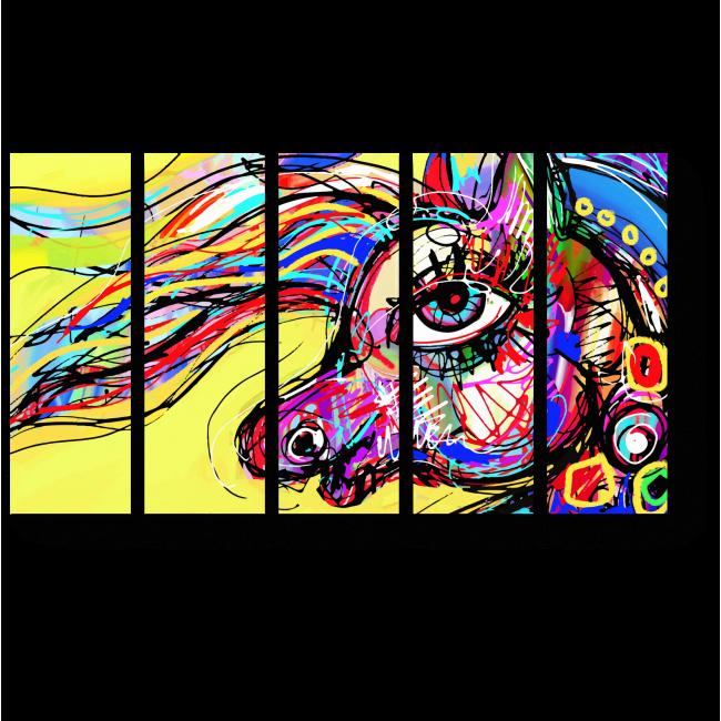 Модульная картина Радужная лошадка