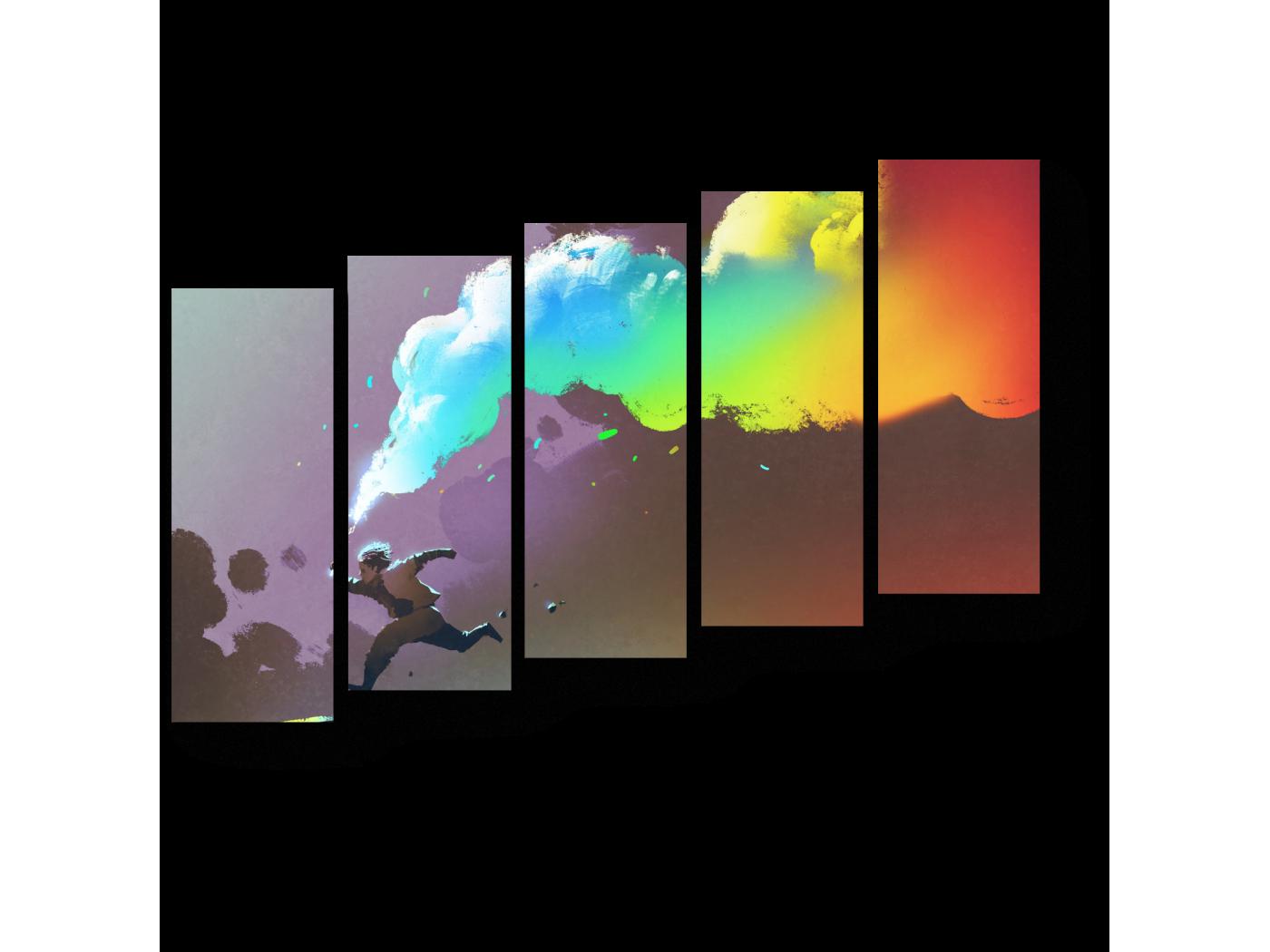 Модульная картина Разноцветный дым (90x63) фото