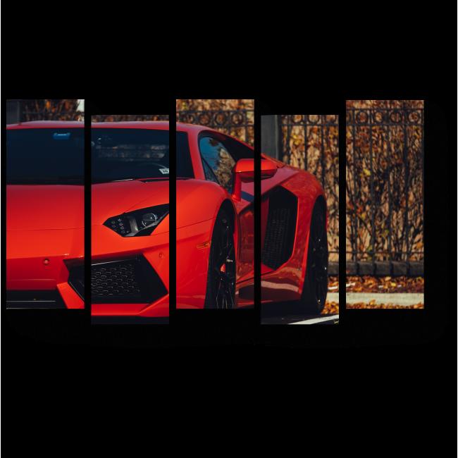 Модульная картина Красный Lamborghini Aventador