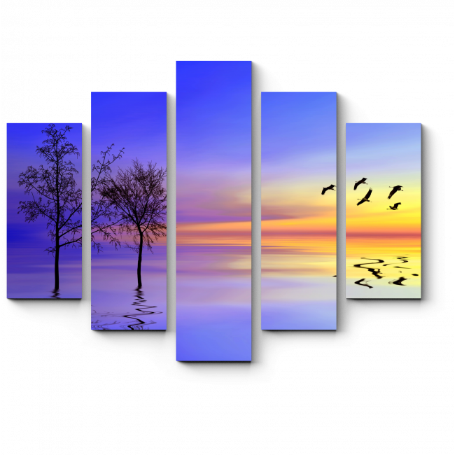 Модульная картина Отражение неба