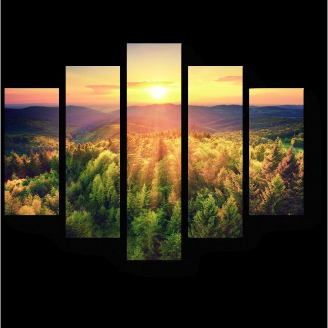 Модульная картина Закат с птичьего полета