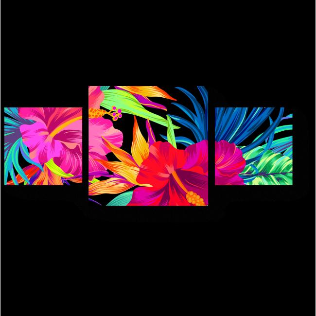 Модульная картина Яркая тропическая флора