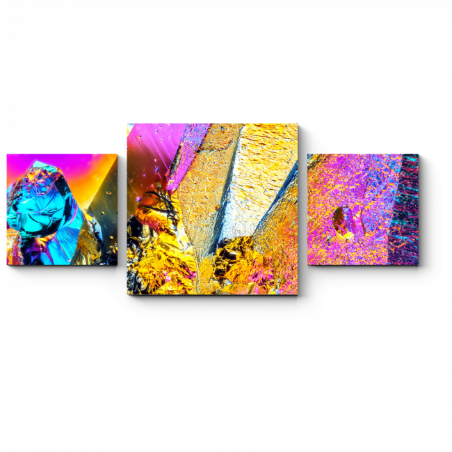 Модульная картина Неоновые кристаллы