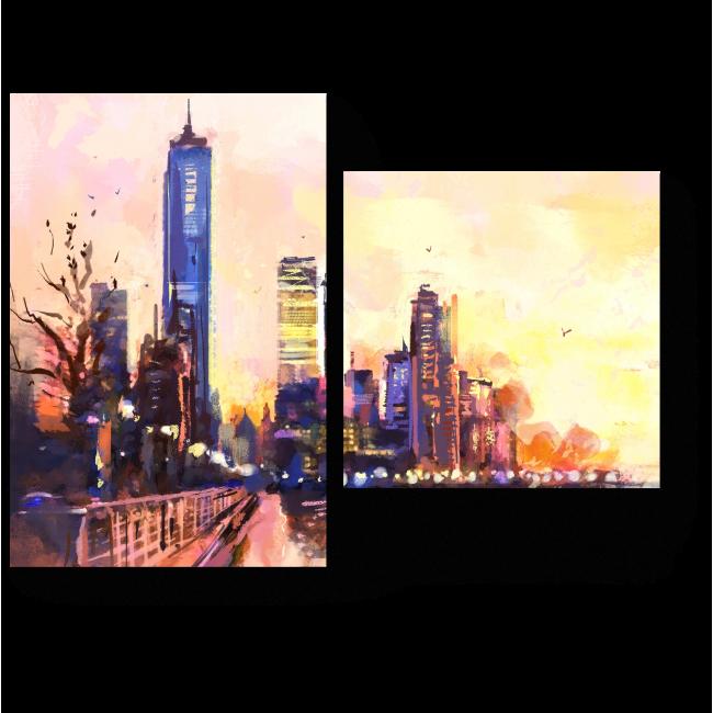 Модульная картина Урбанистический пейзаж на закате