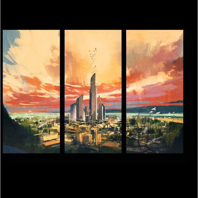 Модульная картина Футуристический городской пейзаж