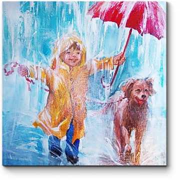 Модульная картина С верным другом и дождь не страшен