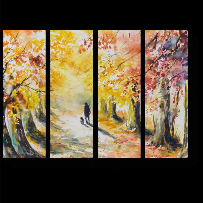 Модульная картина Прогулка по осенней аллее