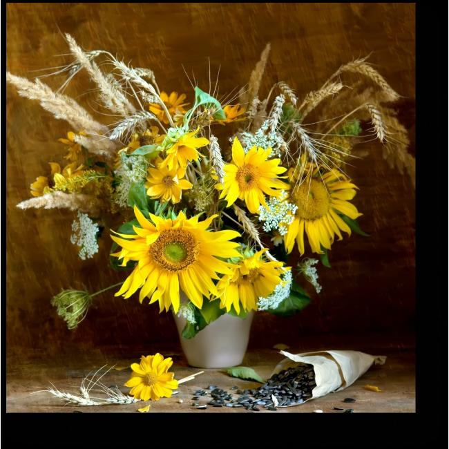 Модульная картина Подсолнухи и сухоцветы