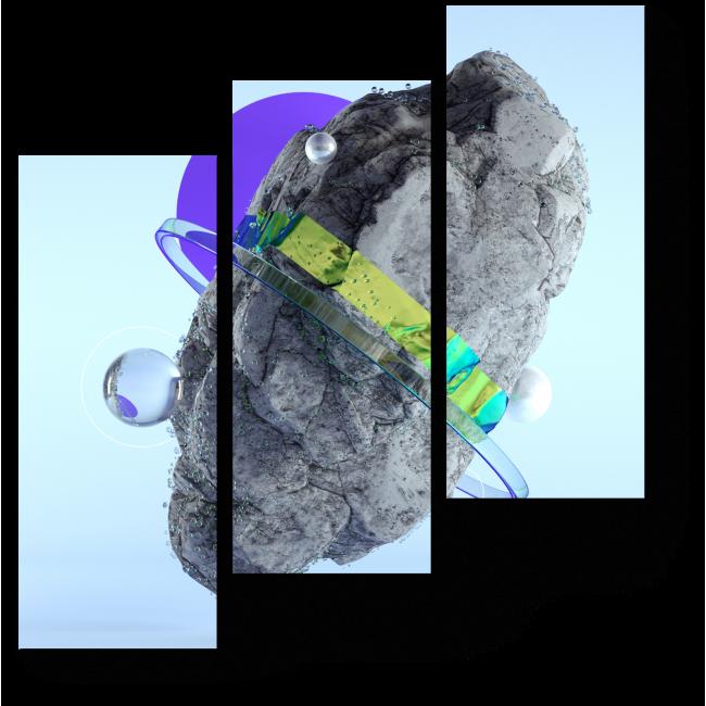 Модульная картина Камень со спутниками