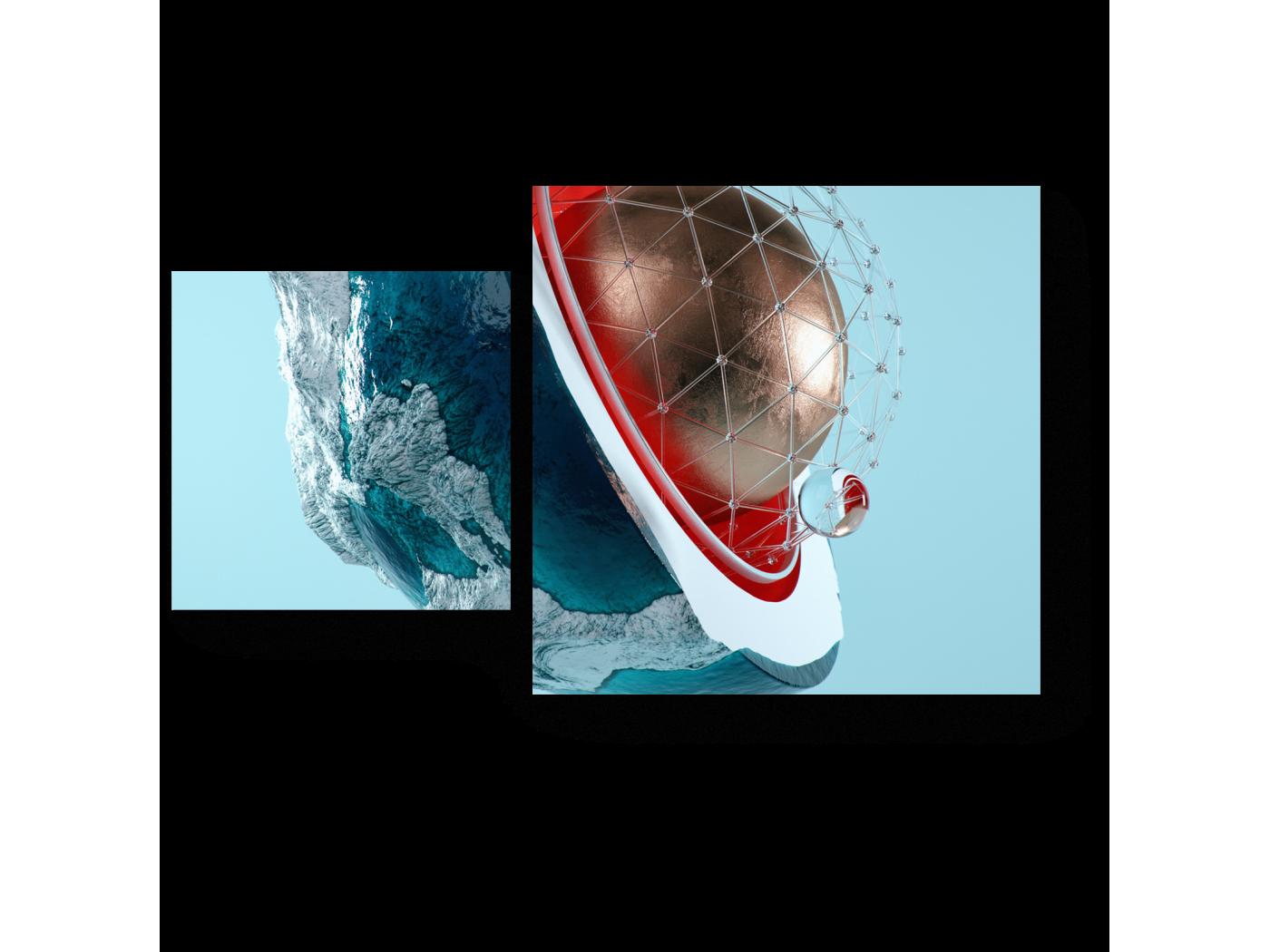 Модульная картина Ядро (50x30) фото