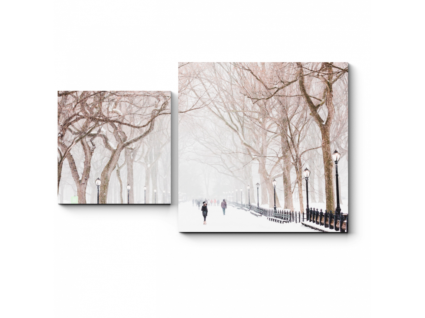 Модульная картина Зимняя алея (50x30) фото