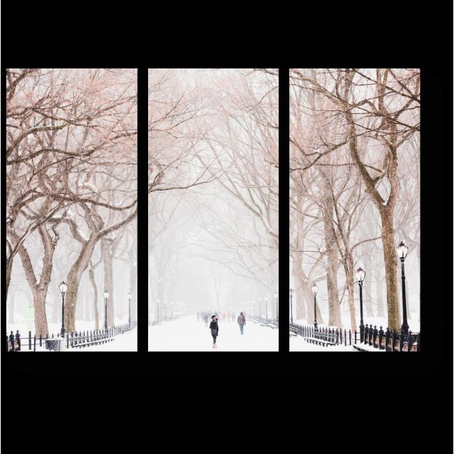 Модульная картина Зимняя алея