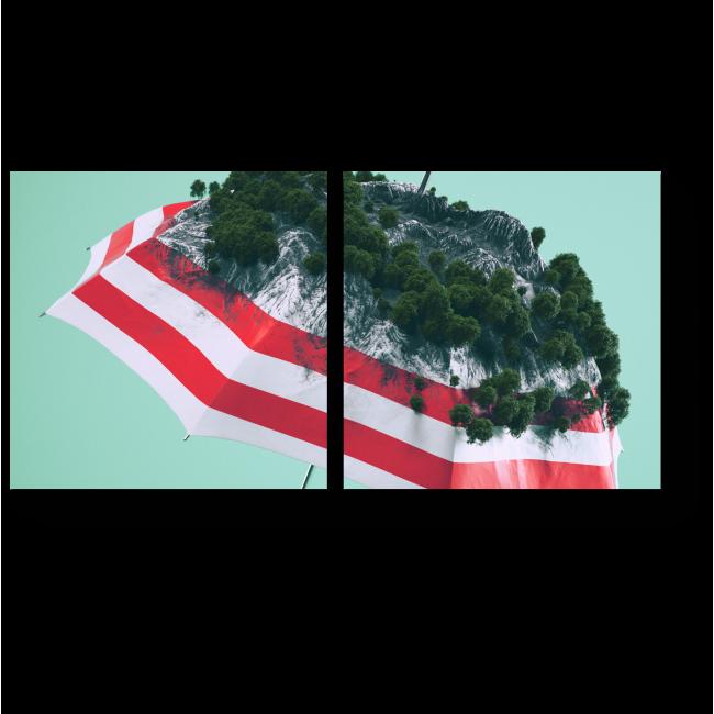 Модульная картина Зонт в сочетании с природой