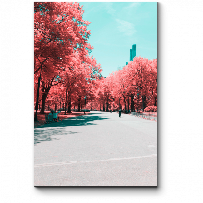 Модульная картина Нью-Йорк кораллового цвета