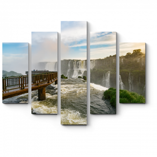 Модульная картина Мост на водопаде