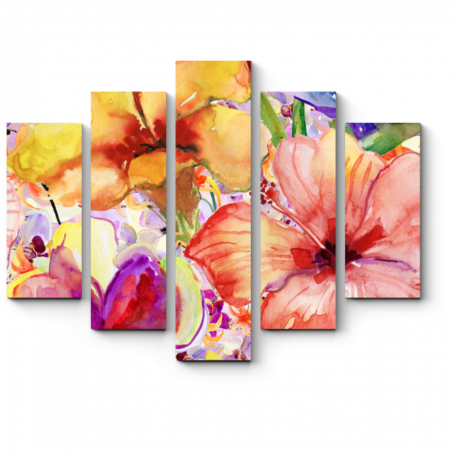 Модульная картина Нежные цветы, акварель