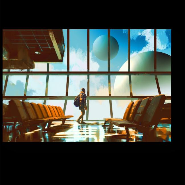 Модульная картина Планеты в окнах аэропорта