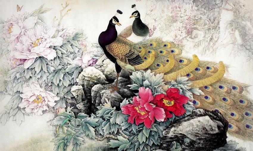 картина феншуй птицы